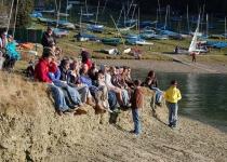 Crowd at the lake